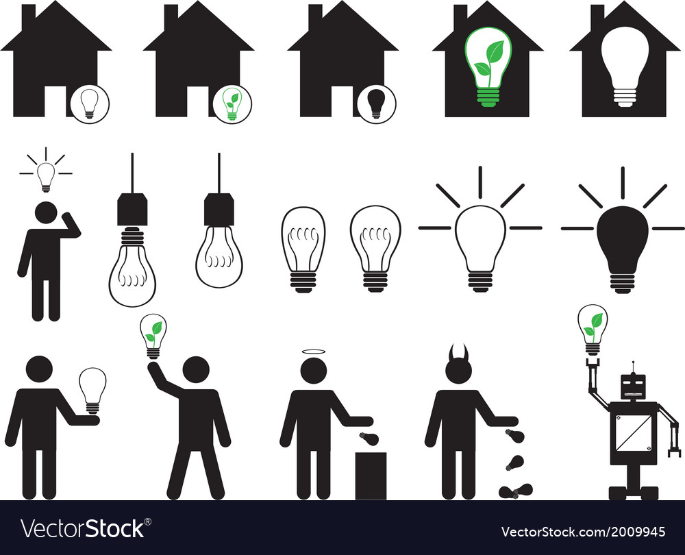 Human pictogram with bulbs vector image