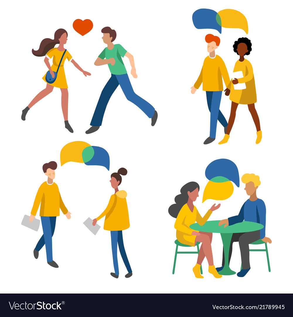 Men and women crowd flat icons romantic couples