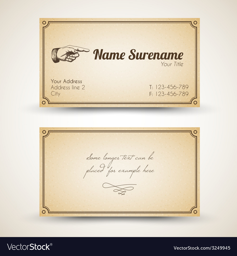 old style retro vintage business card vector image - Vintage Business Cards