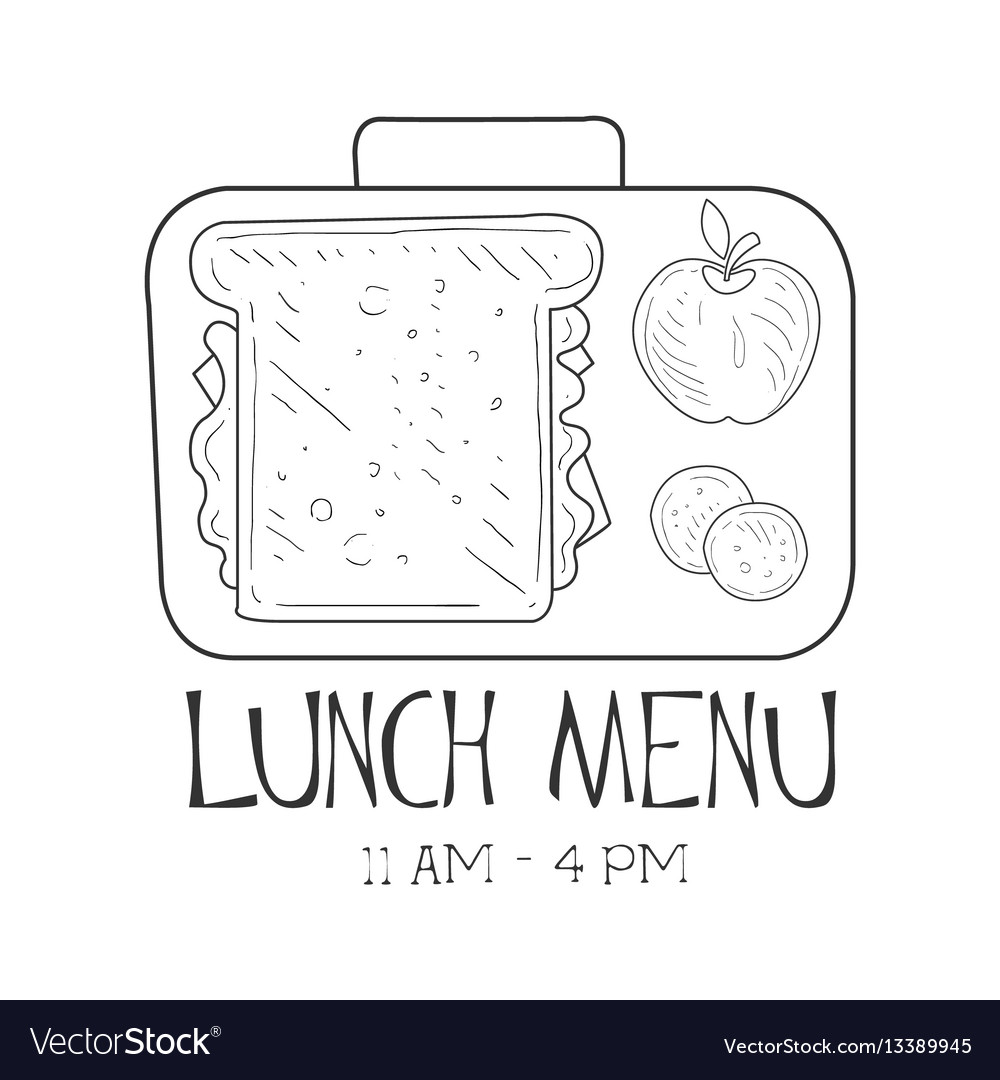 School lunchbox cafe lunch menu promo sign in