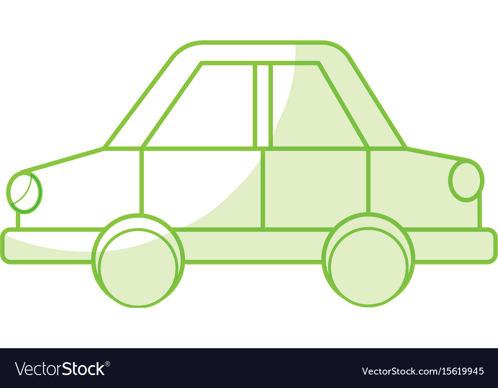 Silhouette car design to transportation with tires vector image