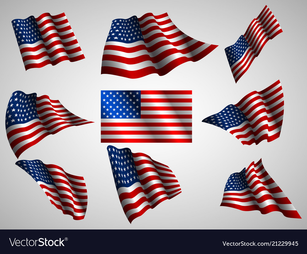 Waving usa flag isolated flag ico