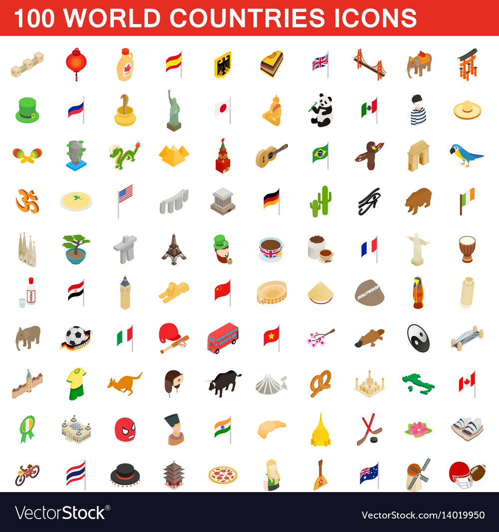 100 world countries icons set isometric 3d style vector image