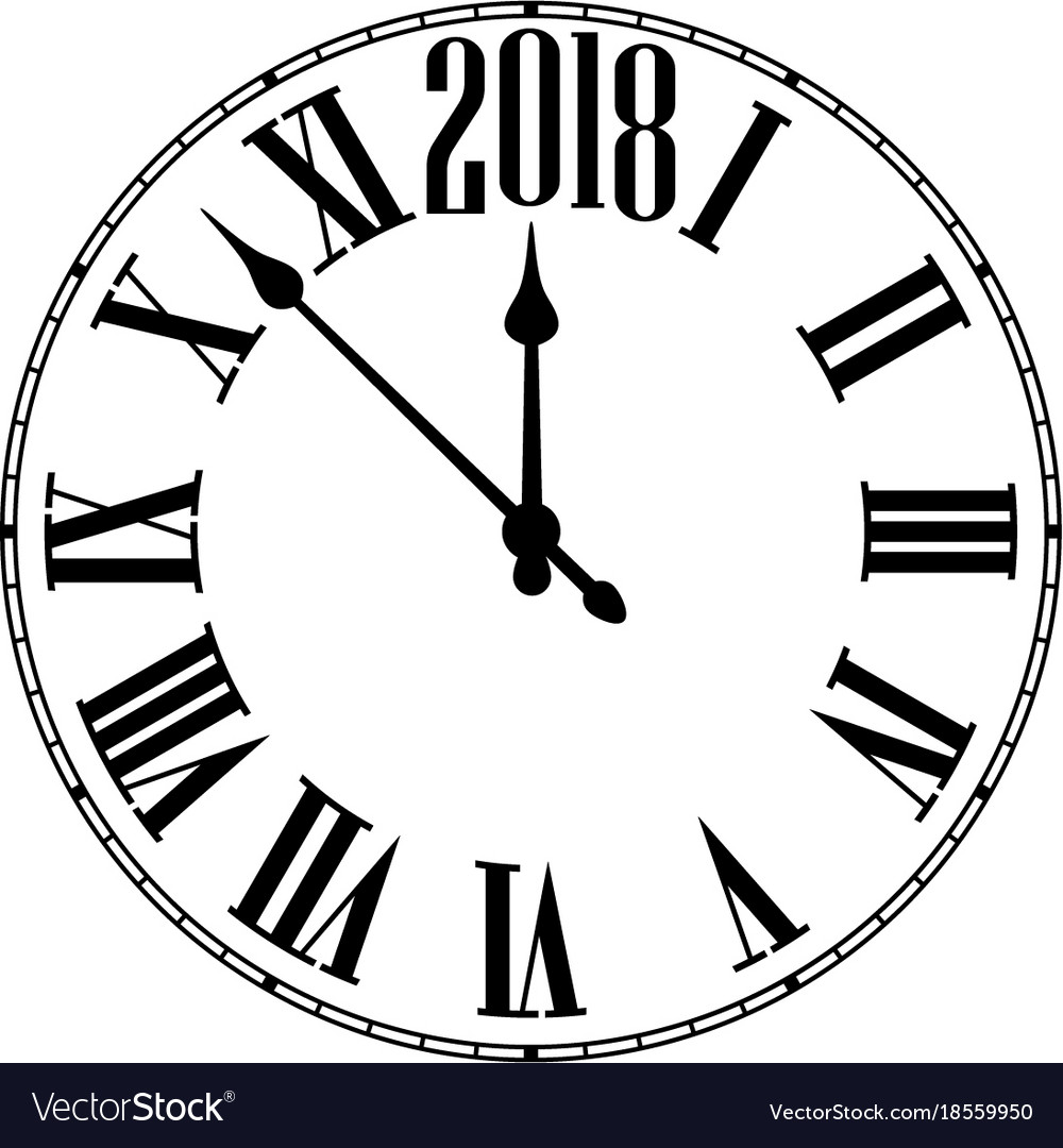 2018 new year round clock Royalty Free Vector Image