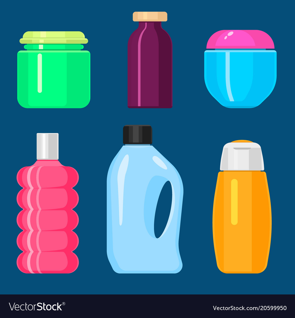 Bottles household chemicals supplies and vector image