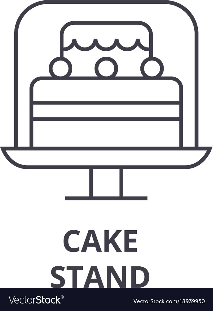 Cake stand line icon outline sign linear symbol