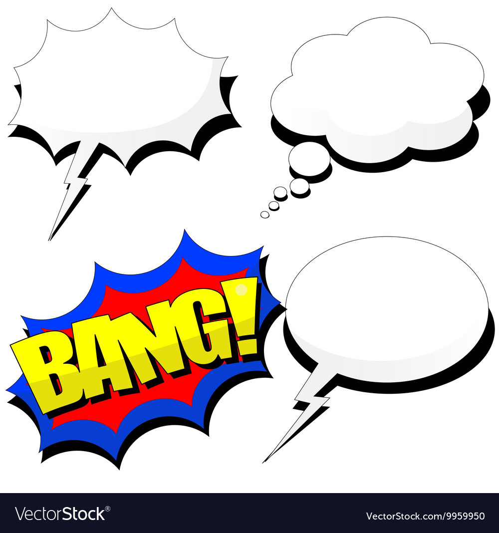 Cartoon speech bubble set with shadows vector image