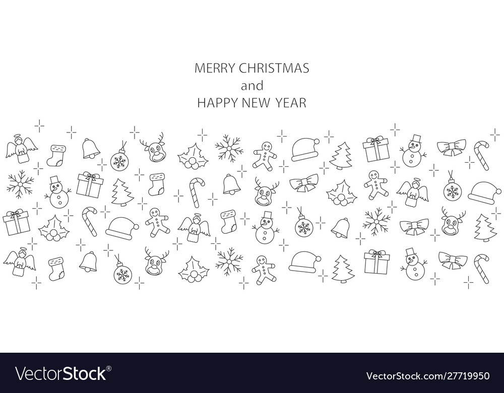 Christmas banner with line icons on white