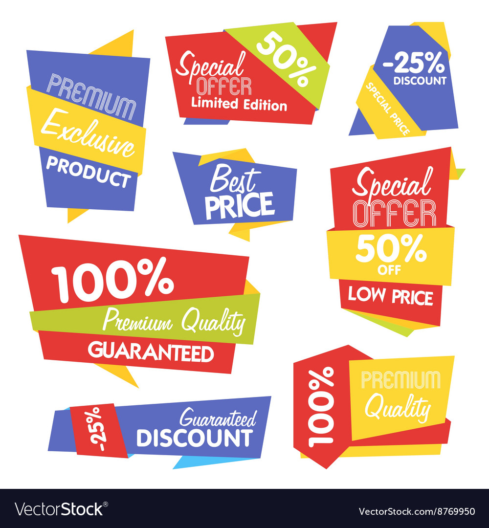 Collection of Abstract Label Sticker Tags