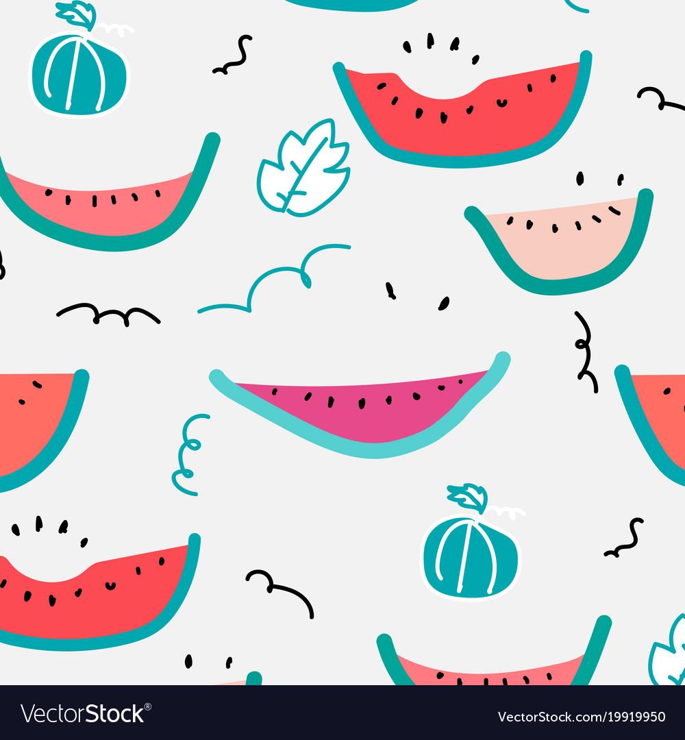 Cute hand drawn watermelon pattern