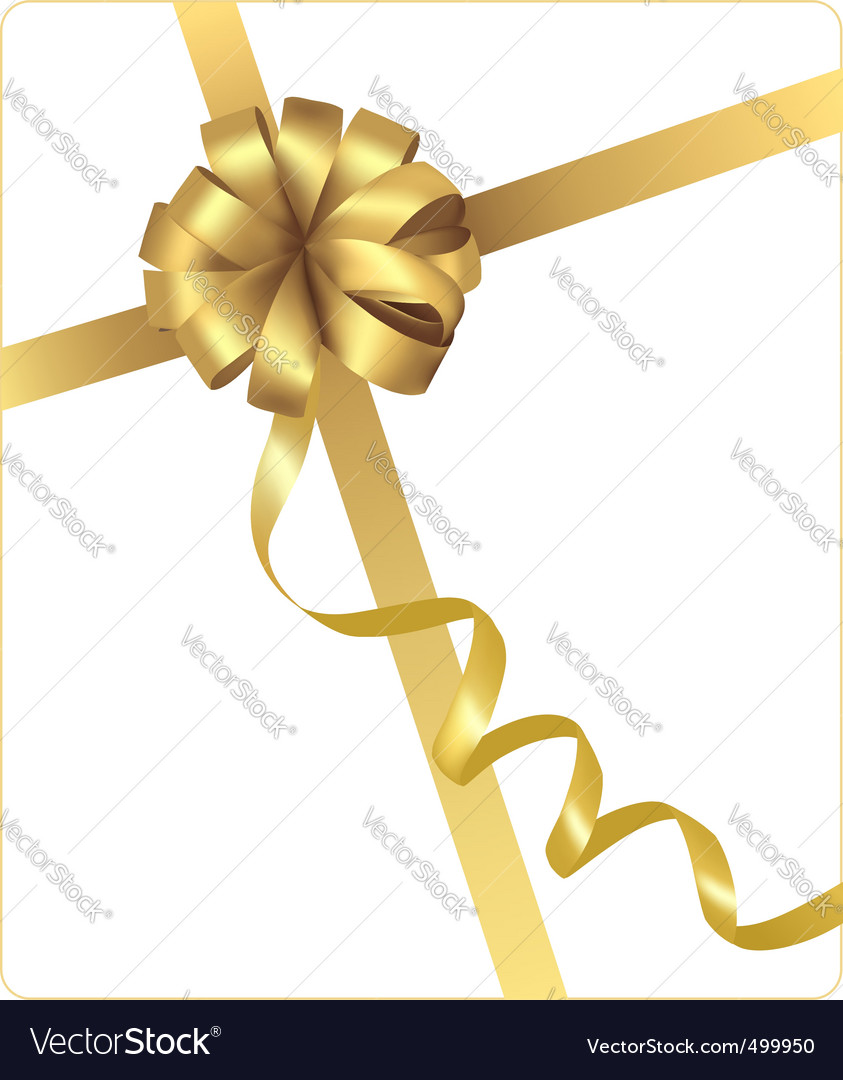 Gold beauty bow with ribbon