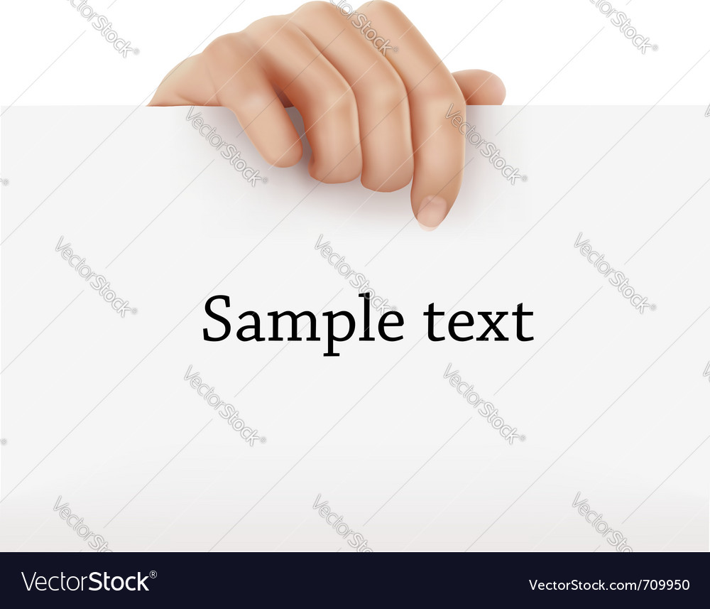 Hand holding sign vector image