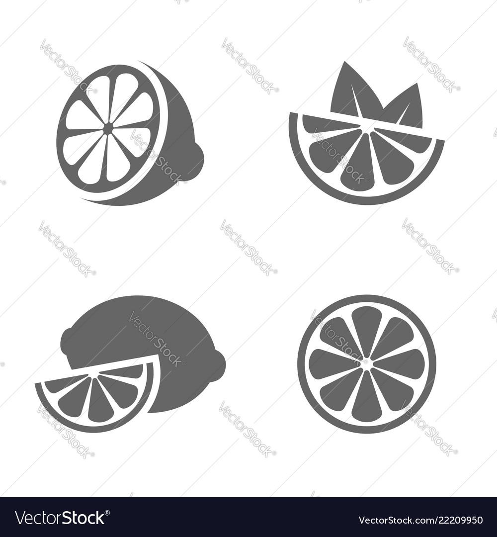 Lemon set of black icons on white background