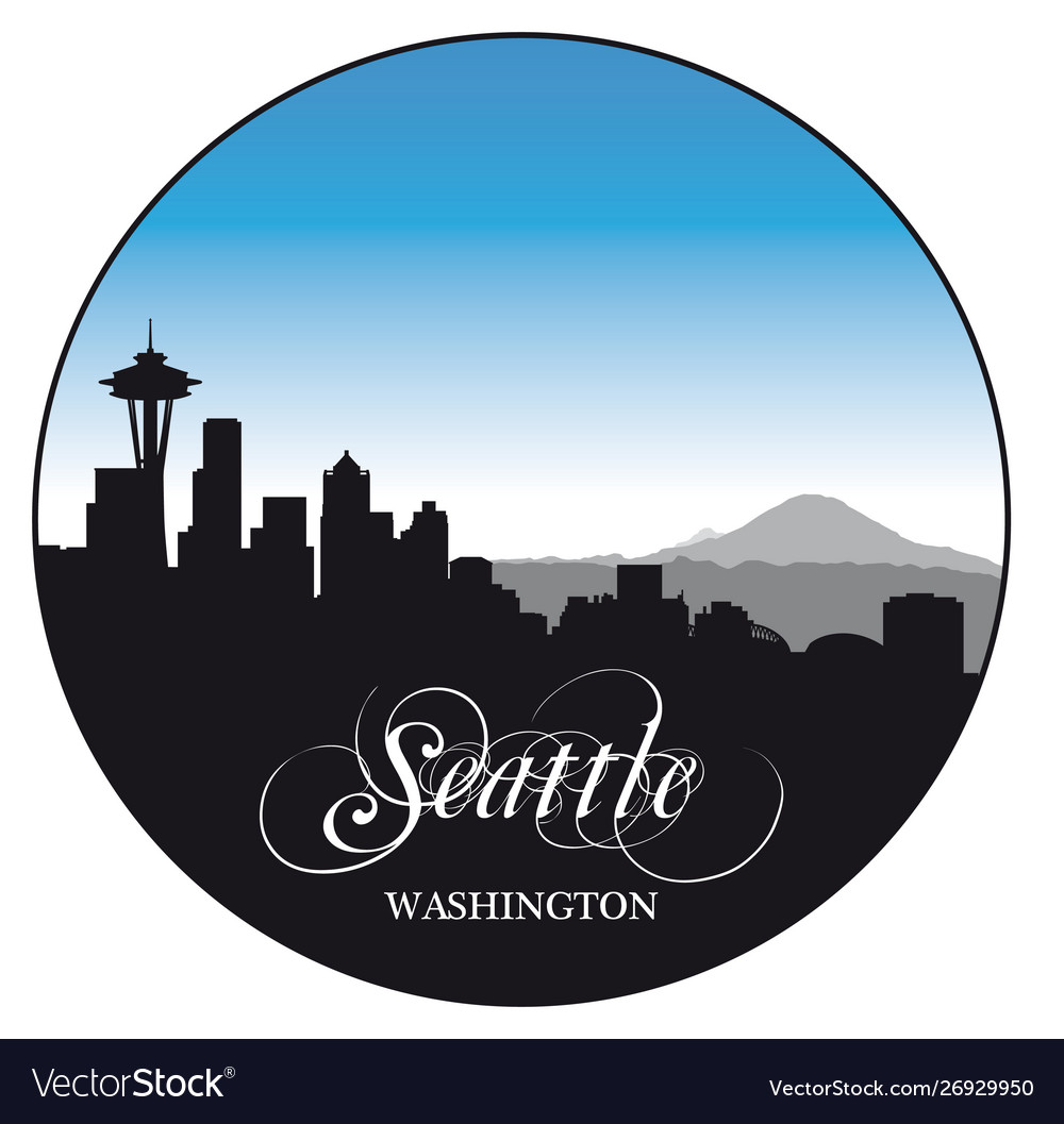 Seattle washington skyline with various sights