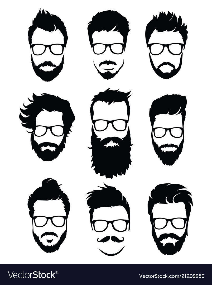 Set of hairstyles for men in glasses collection