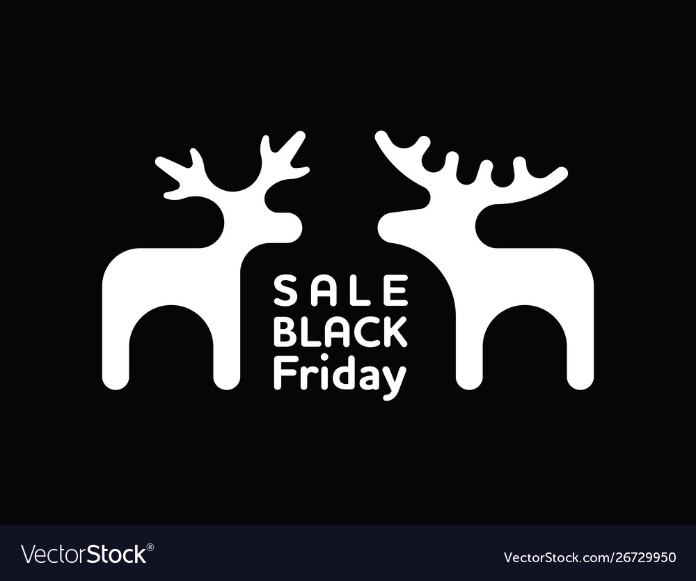Winter black friday sale banner with elk