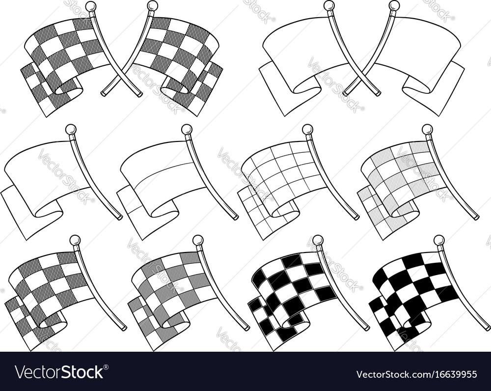 Cartoon graphic crossed racing flag set