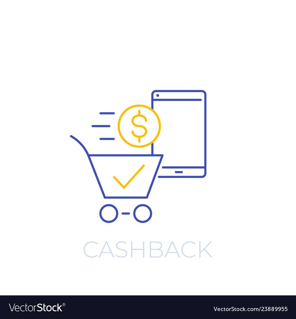 Cashback offer line icon