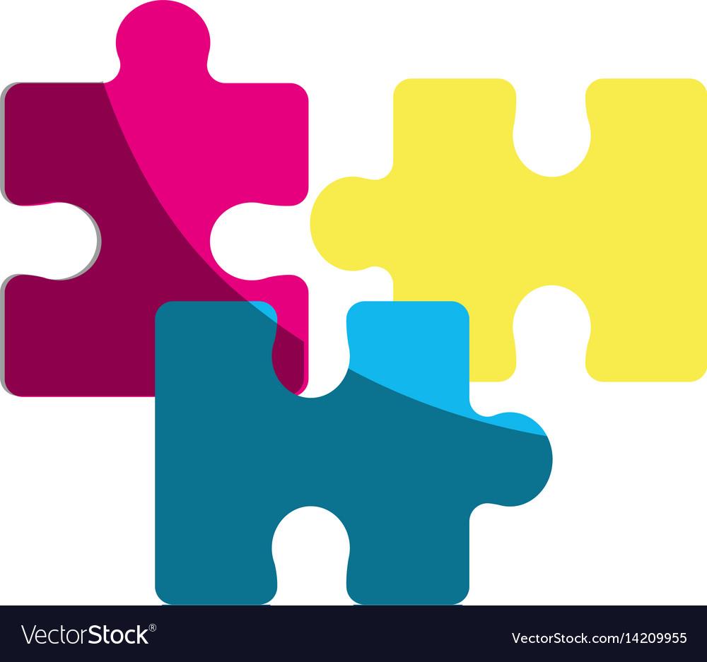 Color parts puzzle mental game vector image