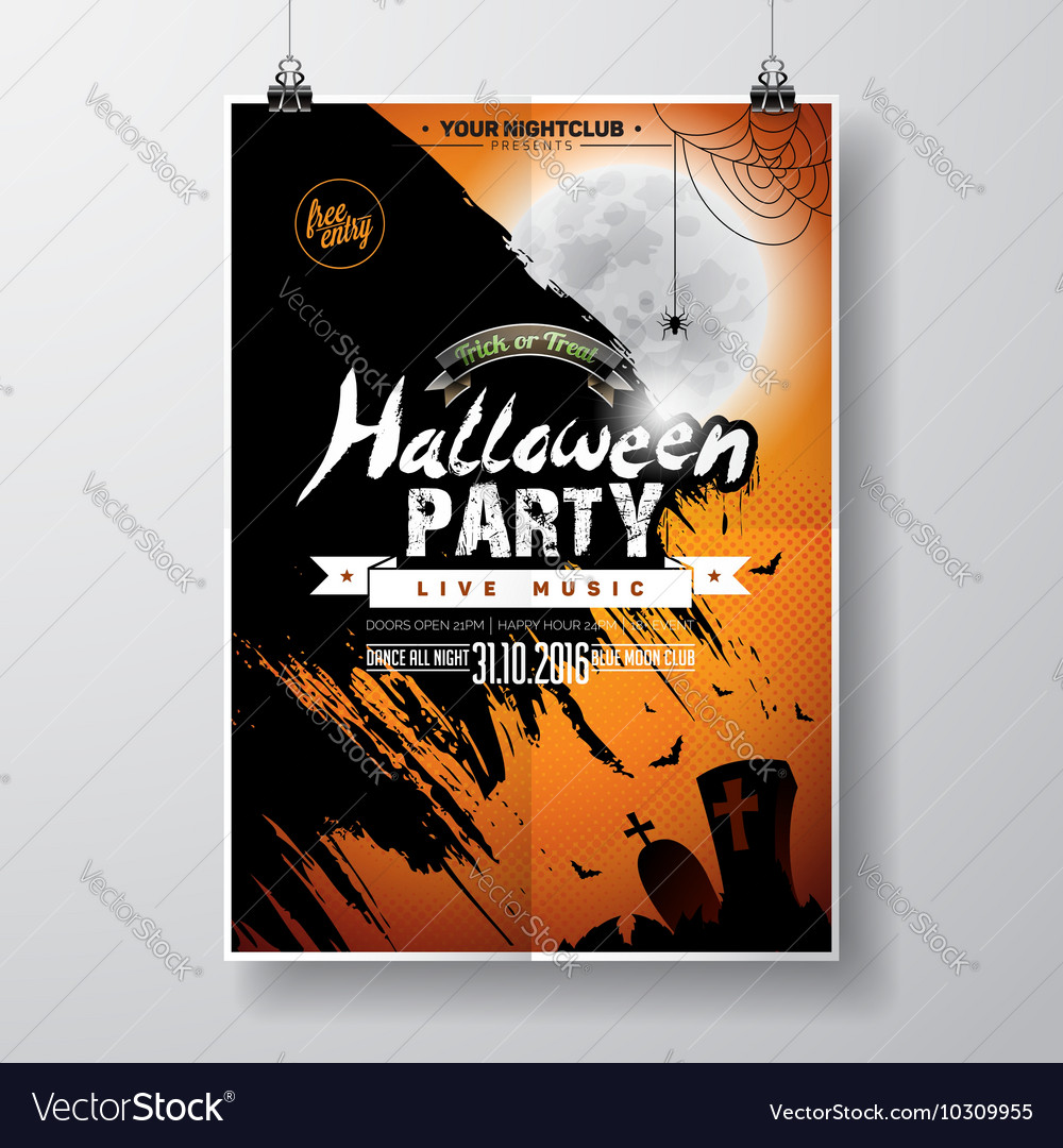 Halloween Party Flyer Design with bats and moon