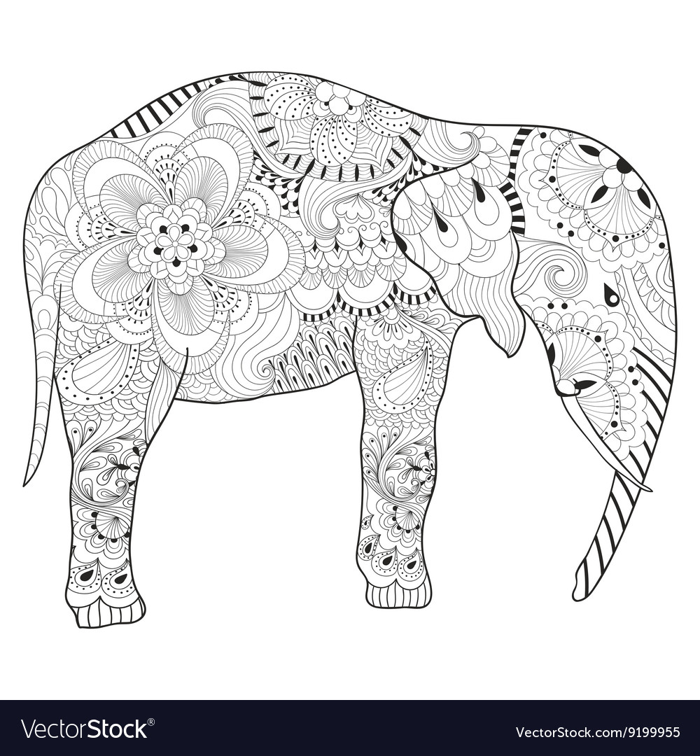 Hand Drawn Zentangle Elephant With Mandala For Vector Image