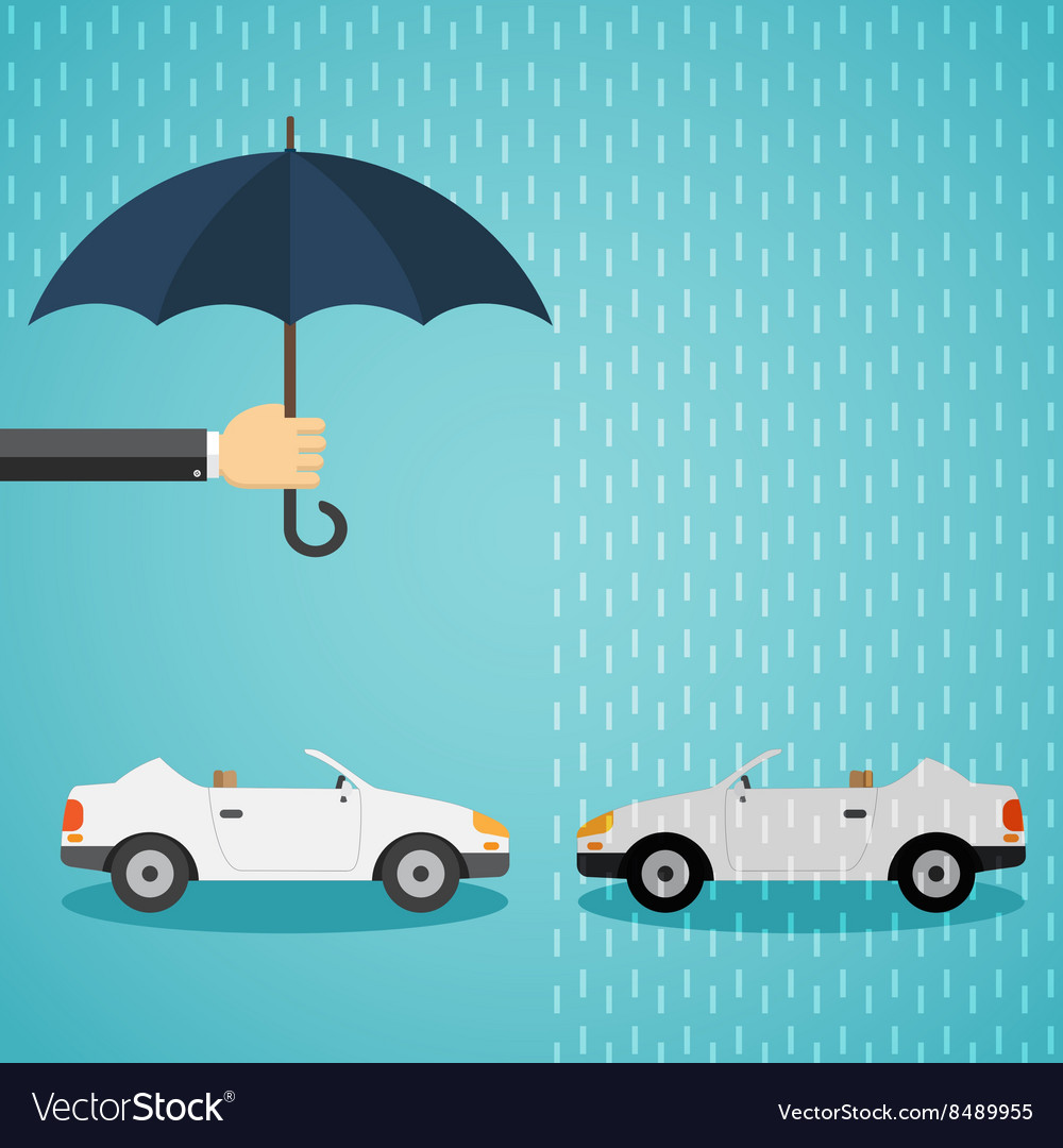 Hand With An Umbrella That Protects The Car