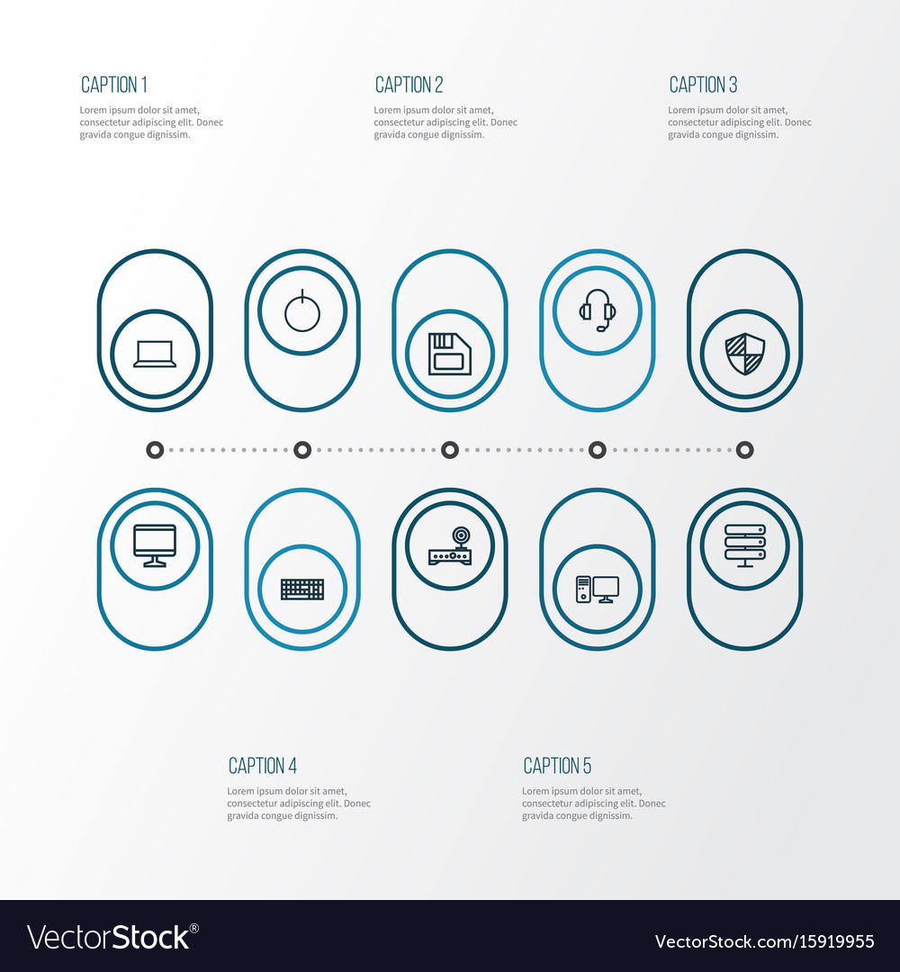 Hardware outline icons set collection of computer
