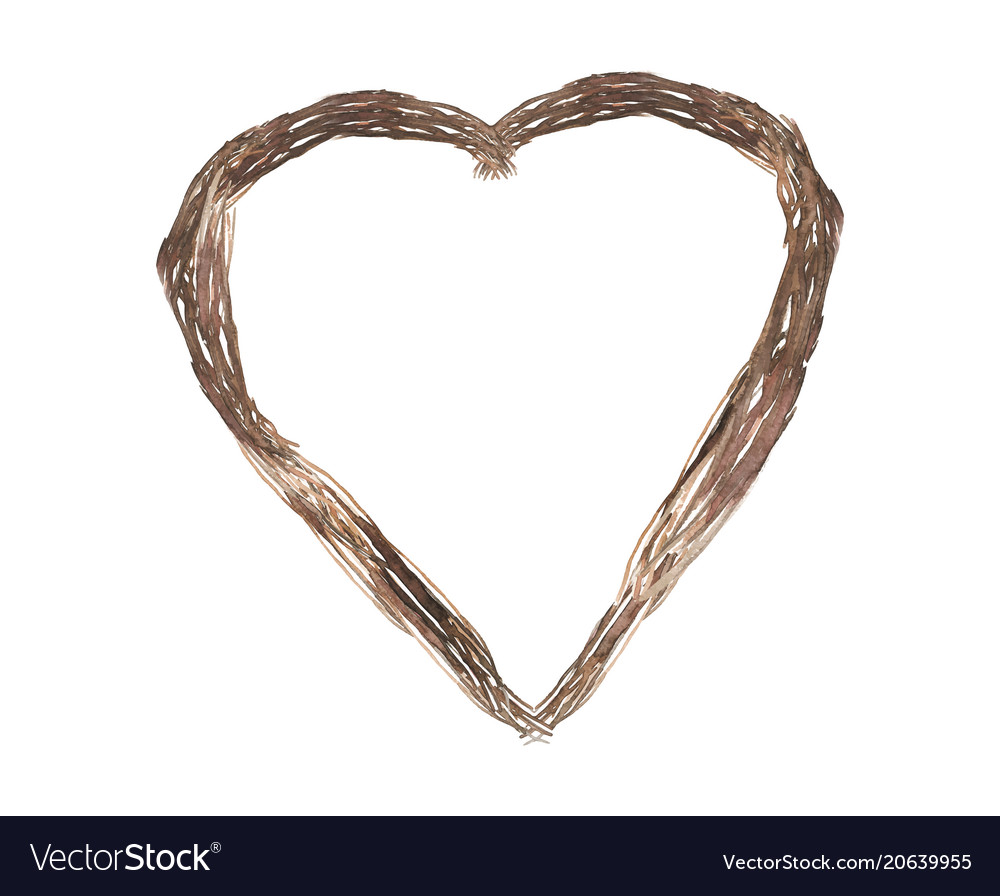 Isolated brown heart shape plant wedding vector image