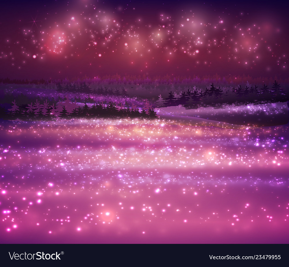 Magic winter snow background with night stars and