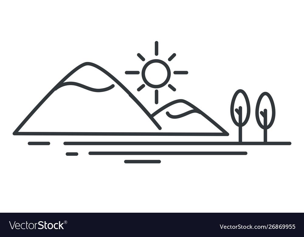 Ocean coast mountain and sea landscape outline
