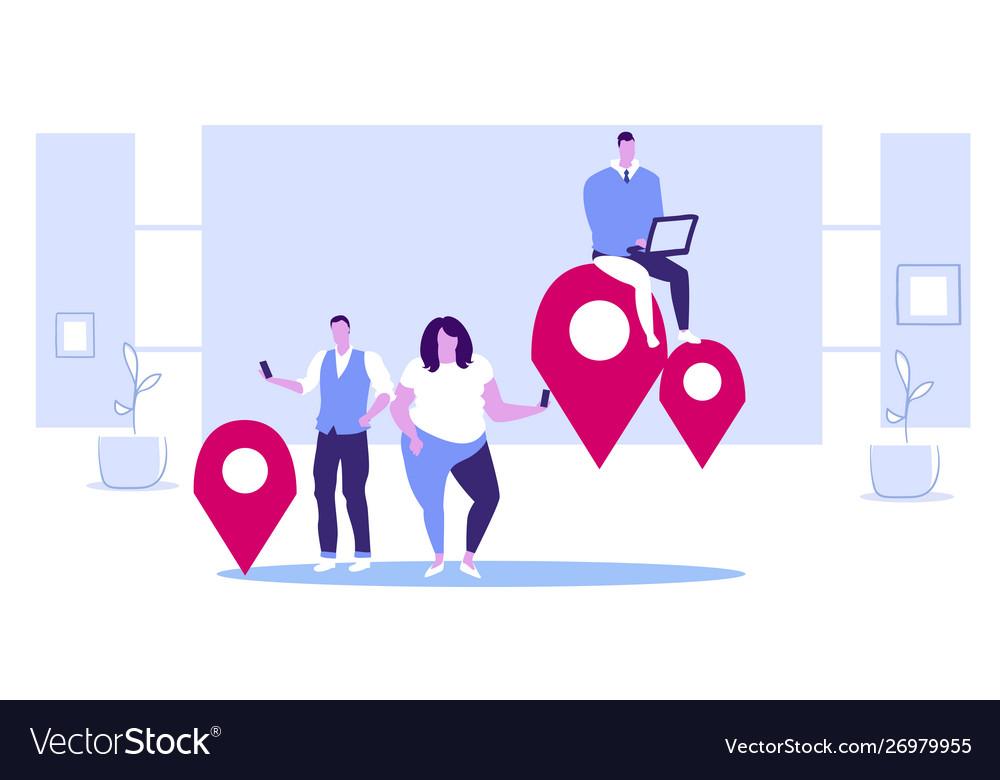 People using gadgets online navigation app concept