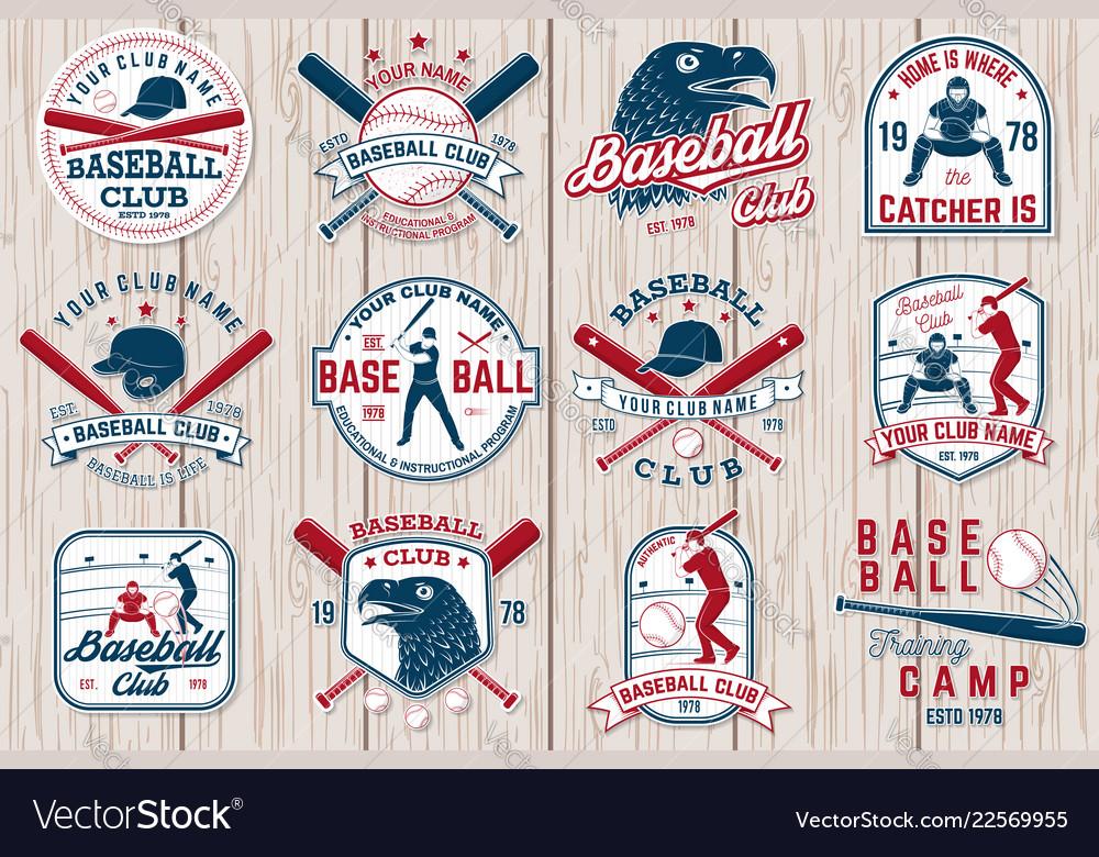 Set baseball or softball club badge
