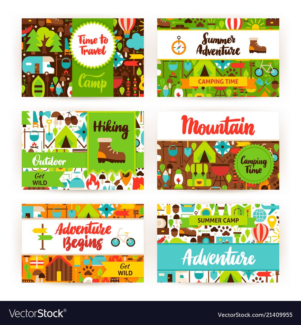 summer camping invitation template set royalty free vector
