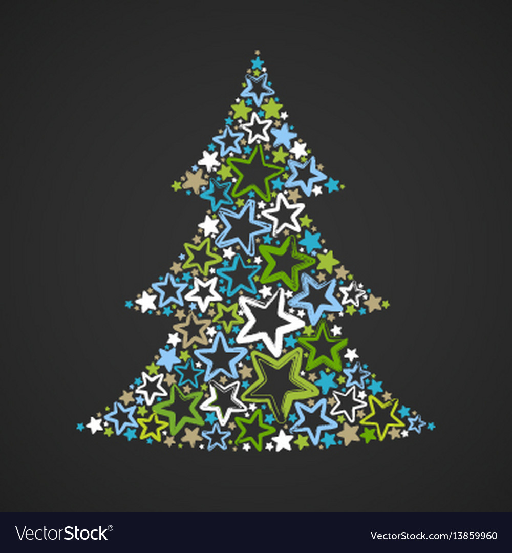 Abstract christmas tree made of multicolored stars