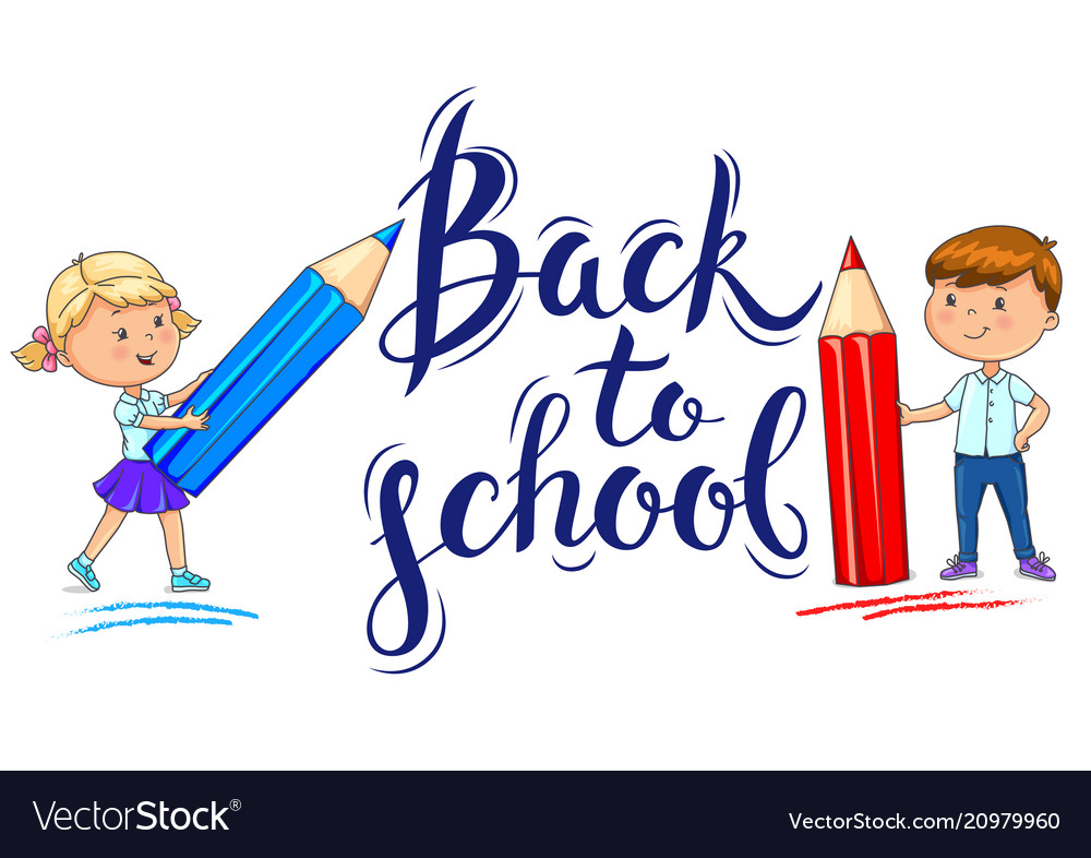 Back to school inscription and ute kids with