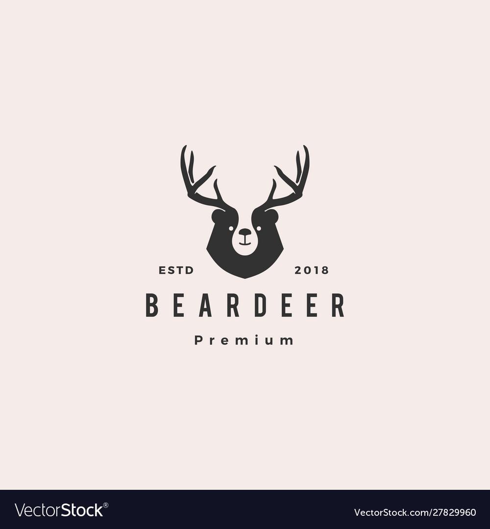 Bear deer logo hipster retro vintage for branding