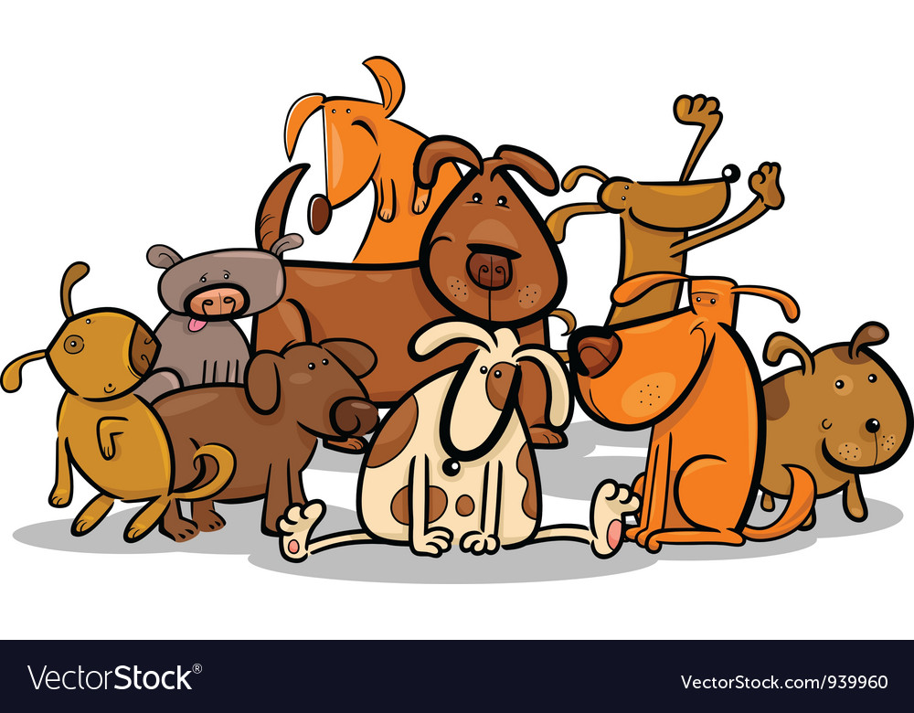 Image of: Illustration Cartoon Group Of Cute Dogs Vector Image Vectorstock Cartoon Group Of Cute Dogs Royalty Free Vector Image
