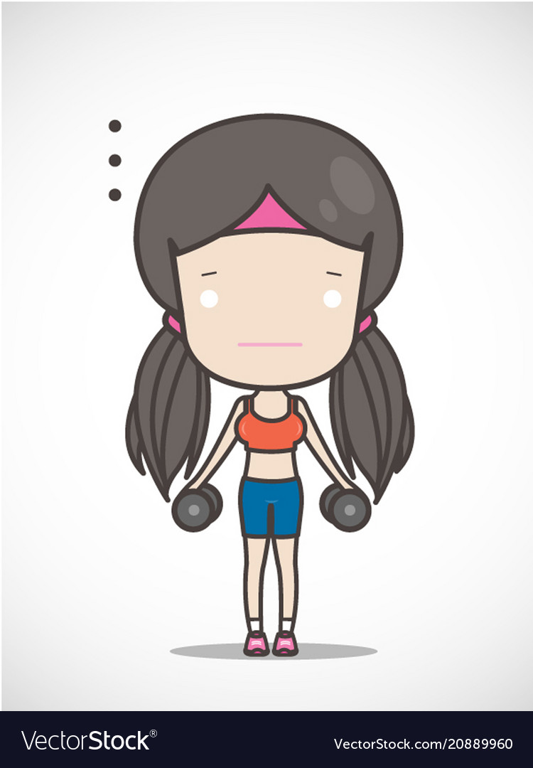 cute girl exercising hold in dumbbell hand vector image