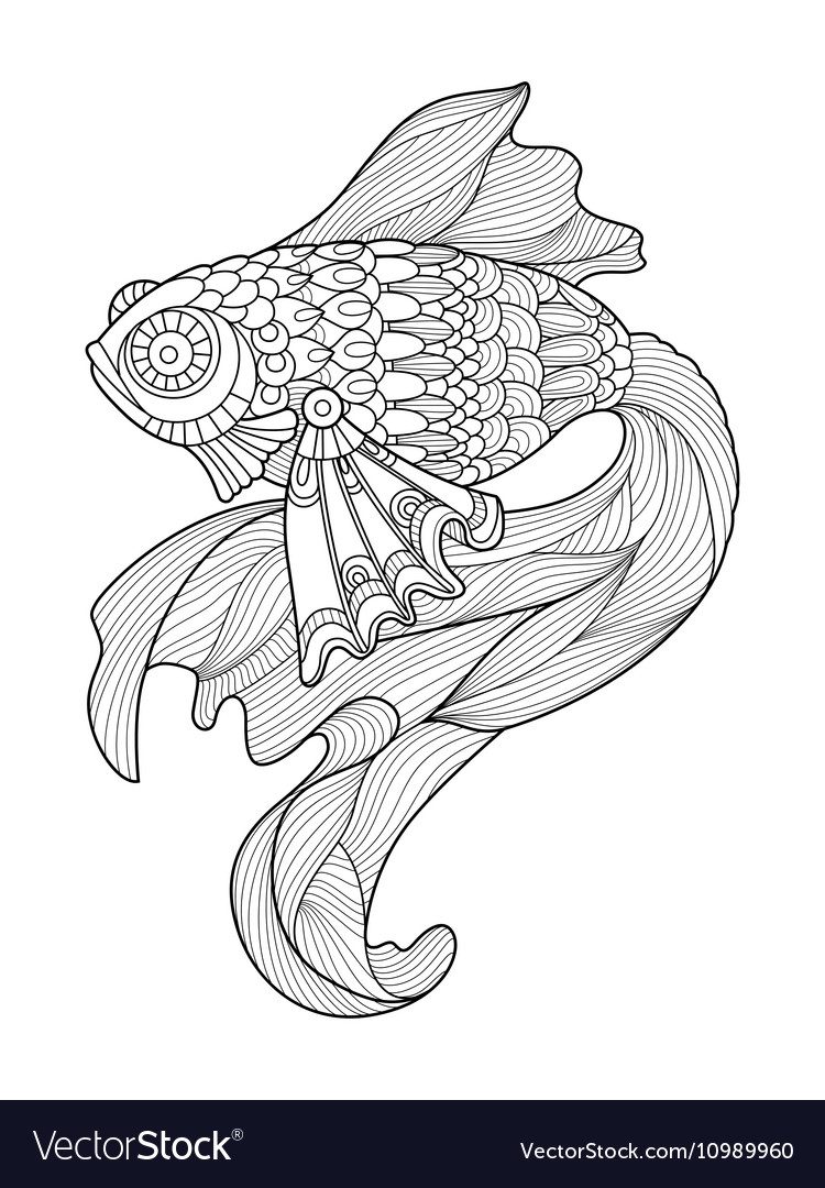 Gold fish coloring book for adults