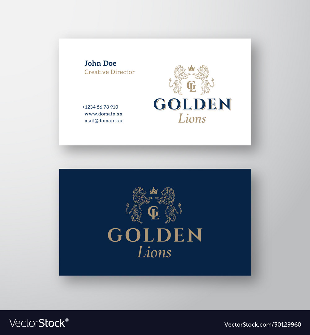 Golden lions abstract logo and business