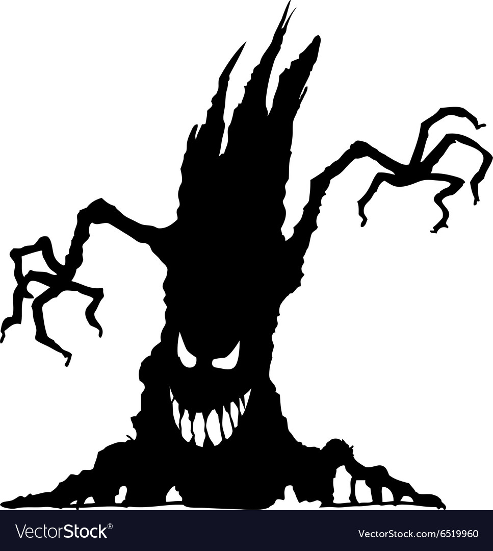 Halloween scary tree silhouette isolated