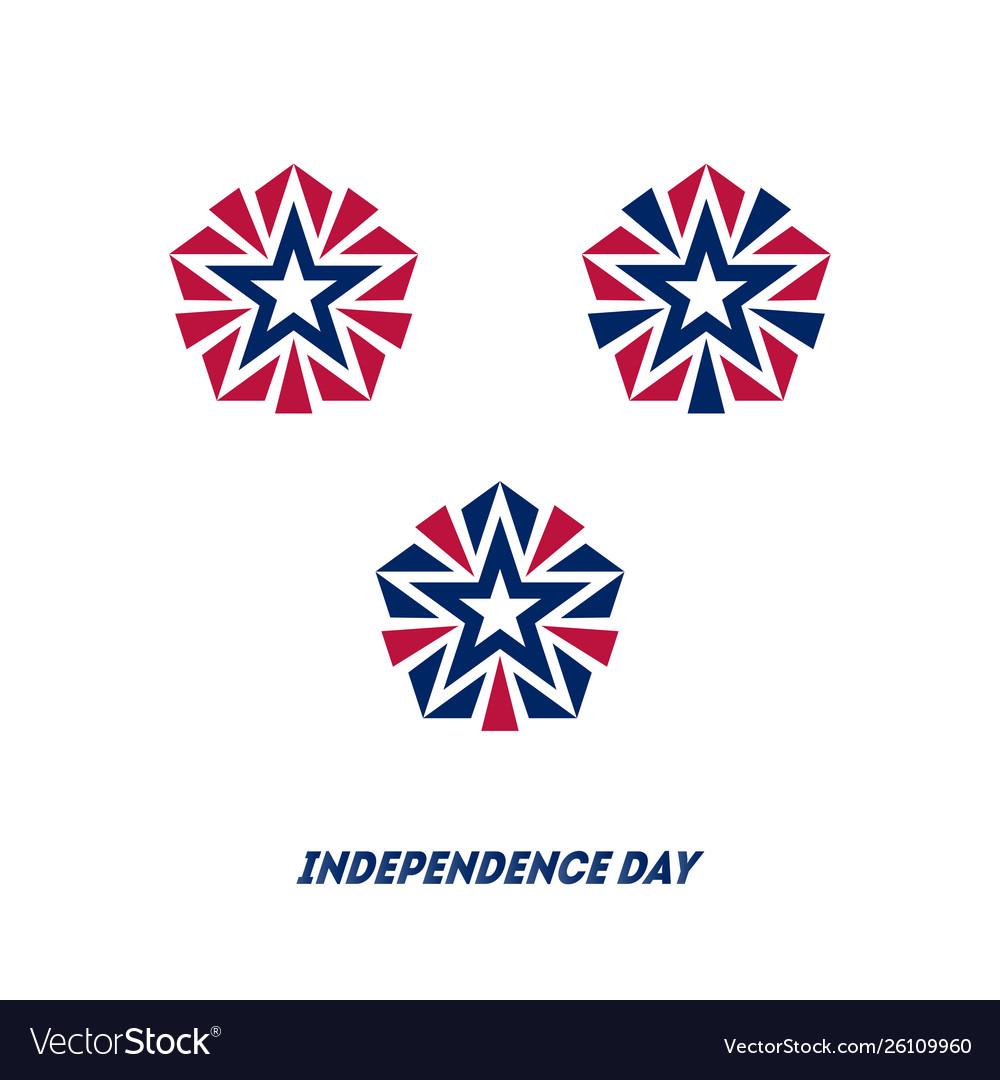Independence day star made usa national flag