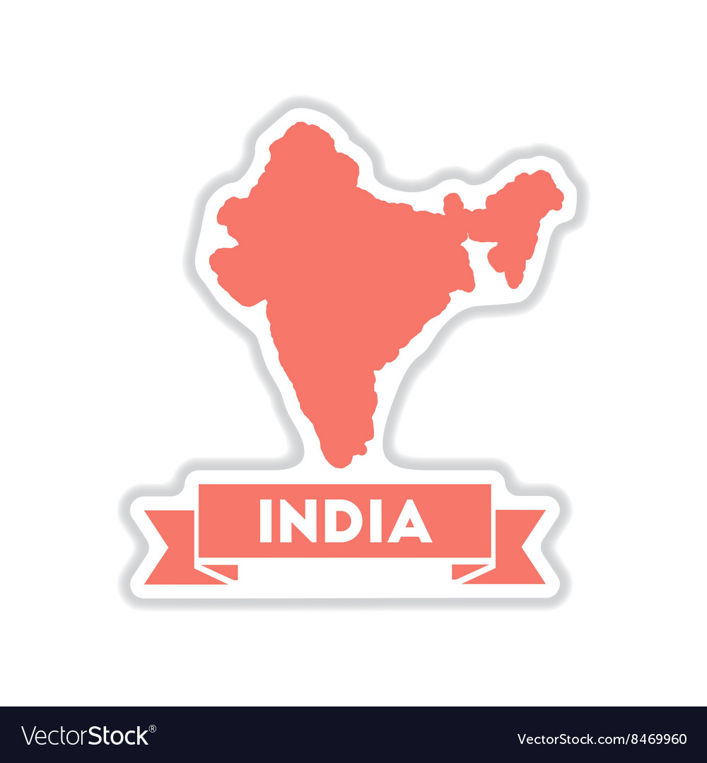 Paper sticker on white background india map vector image
