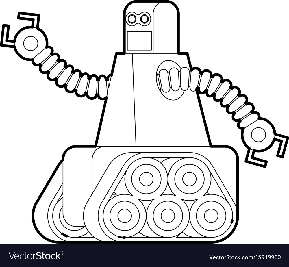973c472e4bb Robot with caterpillar track icon outline