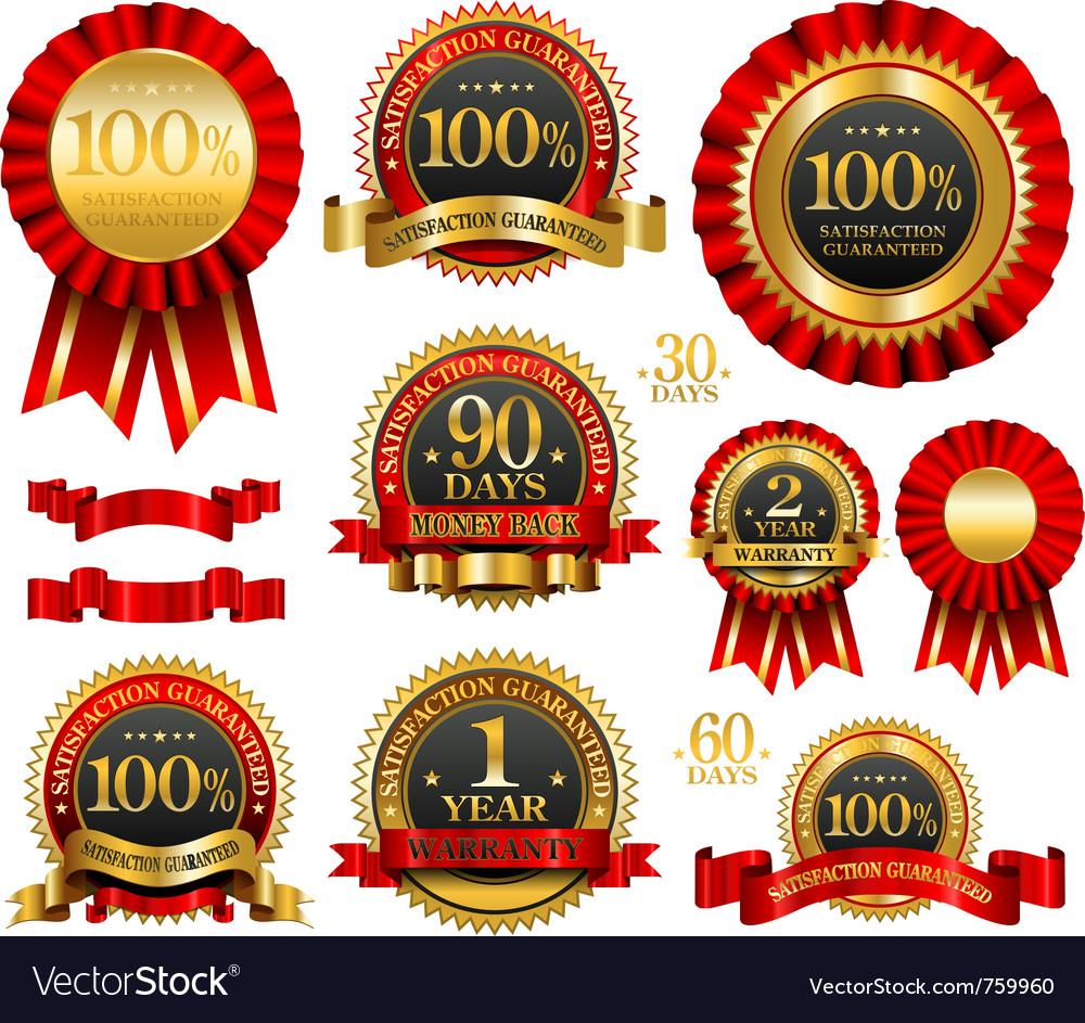 Set of 100 guarantee golden labels vector image