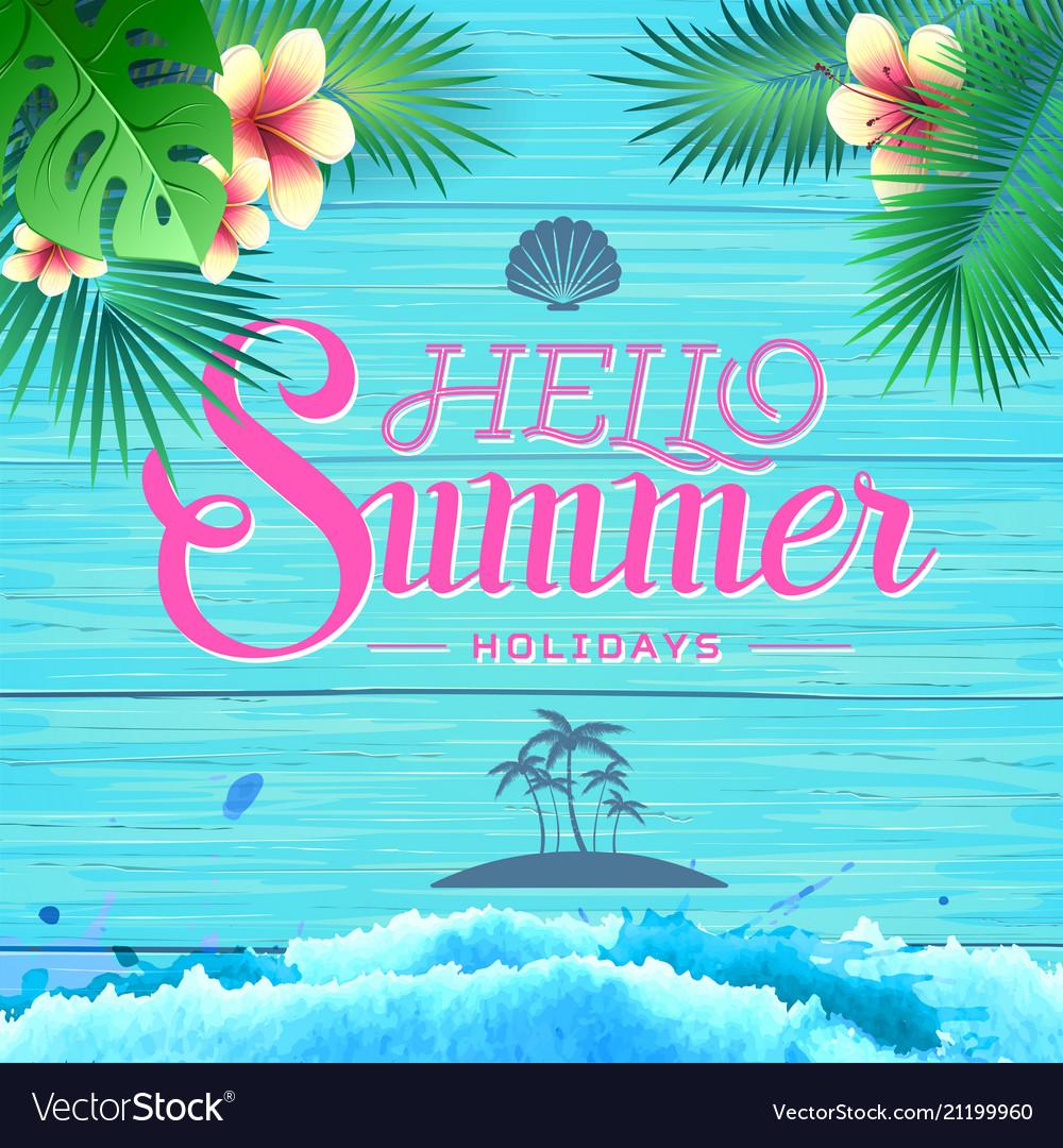 Summer poster on blue wooden background