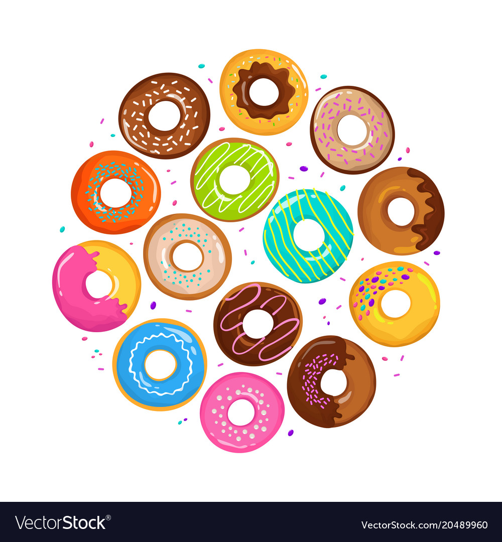 Sweet cartoon donuts in round form