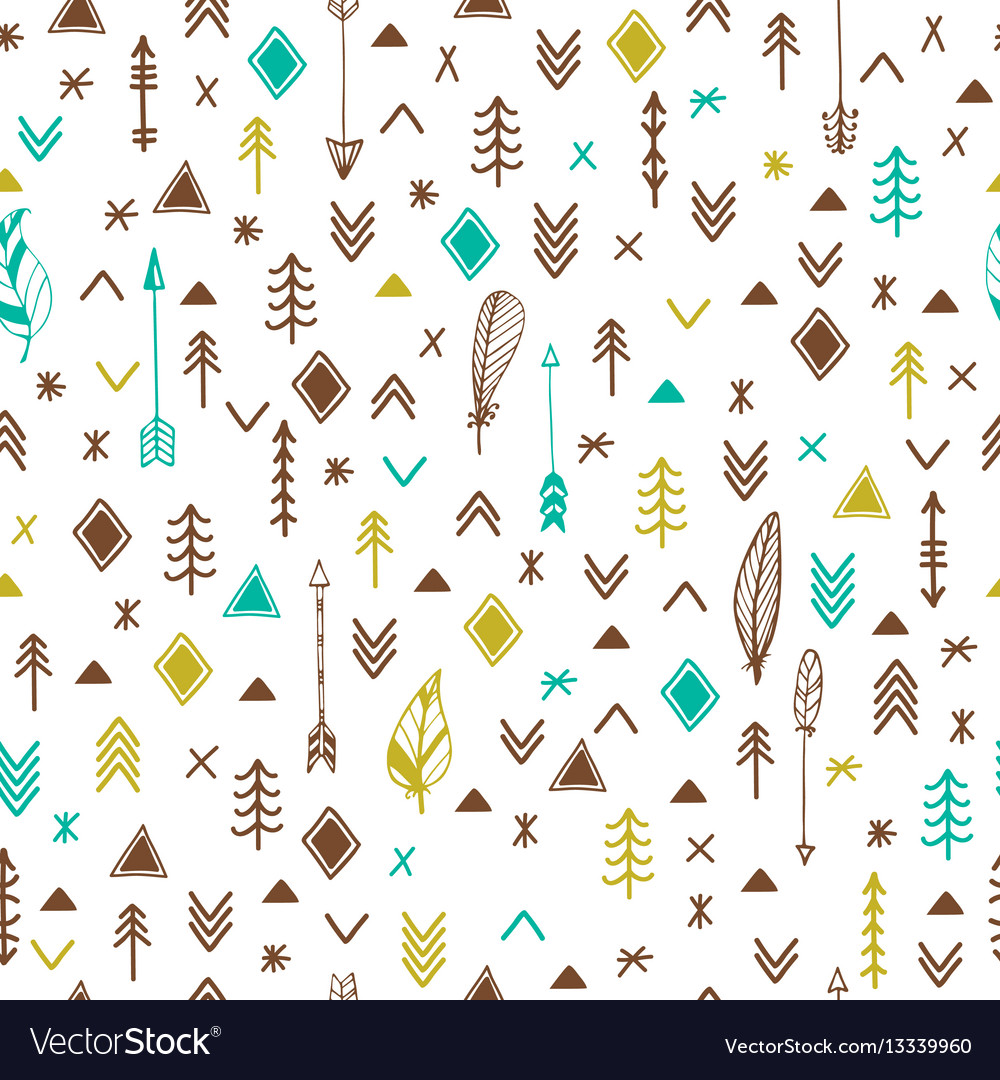 Tribal hand drawn background ethnic seamless