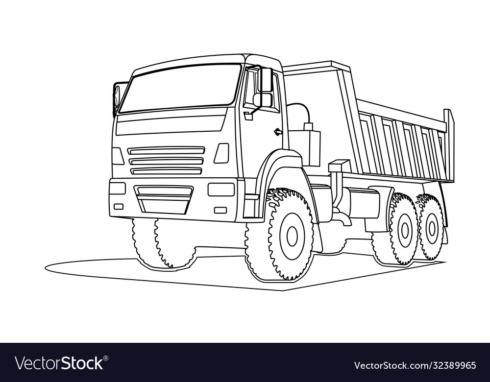 Contour Large Dump Truck For Coloring Book Page Vector Image