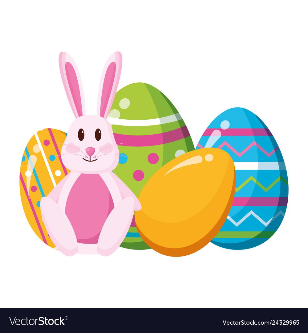 Happy easter rabbit eggs